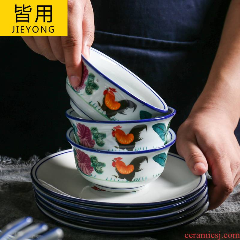 Plates retro nostalgic old rooster bowl bowl of Hong Kong Chinese style household chicken male ceramic tableware portfolio bowl chopsticks sets