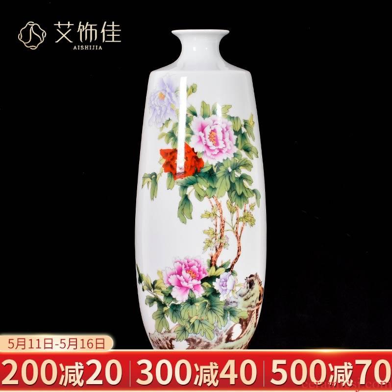 Jingdezhen ceramics powder enamel vase sitting room of Chinese style household dry flower adornment bedroom TV ark, wine furnishing articles