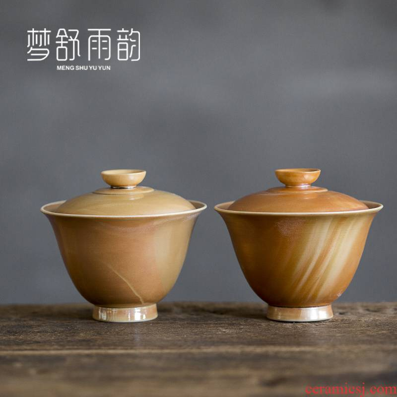 Dream ShuYu rhyme pure manual pull embryo firewood tea three tureen ceramics single kung fu tea set Japanese zen