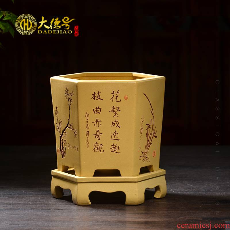 Greatness, yixing purple sand pottery and porcelain breathable hexagon with tray clivia butterfly orchid orchid blue grass special pot
