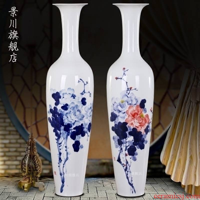 Jingdezhen ceramic I and contracted small pure and fresh and peony vases furnishing articles home sitting room hotel shop decoration