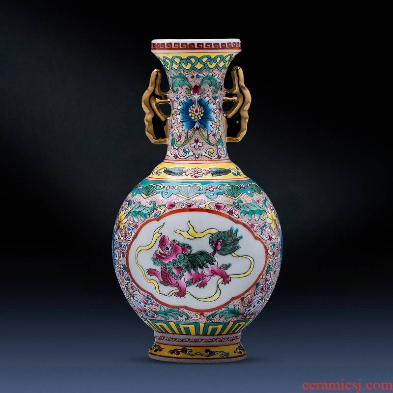 Jingdezhen ceramics antique hand - made colored enamel vase retro flower arrangement sitting room adornment of Chinese style household furnishing articles