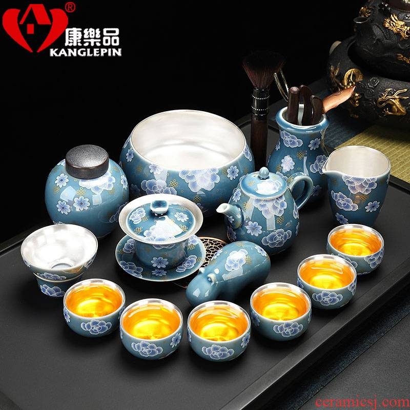 Recreational product ceramic tasted silver gilding kung fu tea set office household contracted tureen teapot teacup of a complete set of gift set