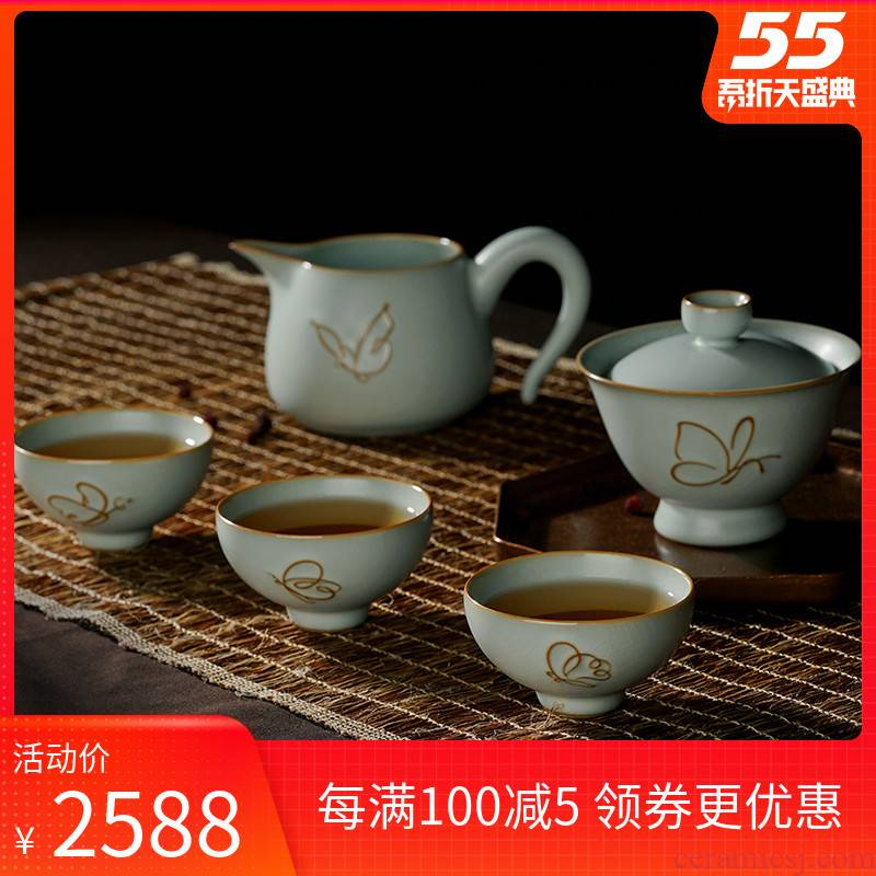 Green has already your up tureen suit jingdezhen kung fu tea set manual ceramic cups imitation song dynasty style typeface restoring ancient ways your porcelain gift boxes