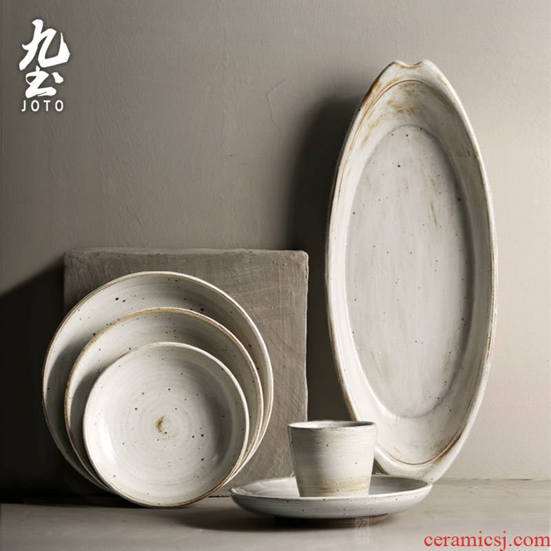 About Nine soil manual coarse ceramic tableware suit retro ceramic rice noodles flat plate fuscescens plate of home day type feeder