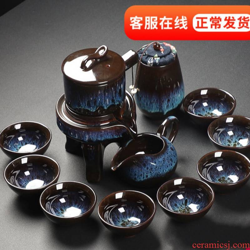 Ceramic combination of kung fu tea set pack ice to crack glaze lines of a complete set of violet arenaceous Japanese tea cups on sale bag in the mail