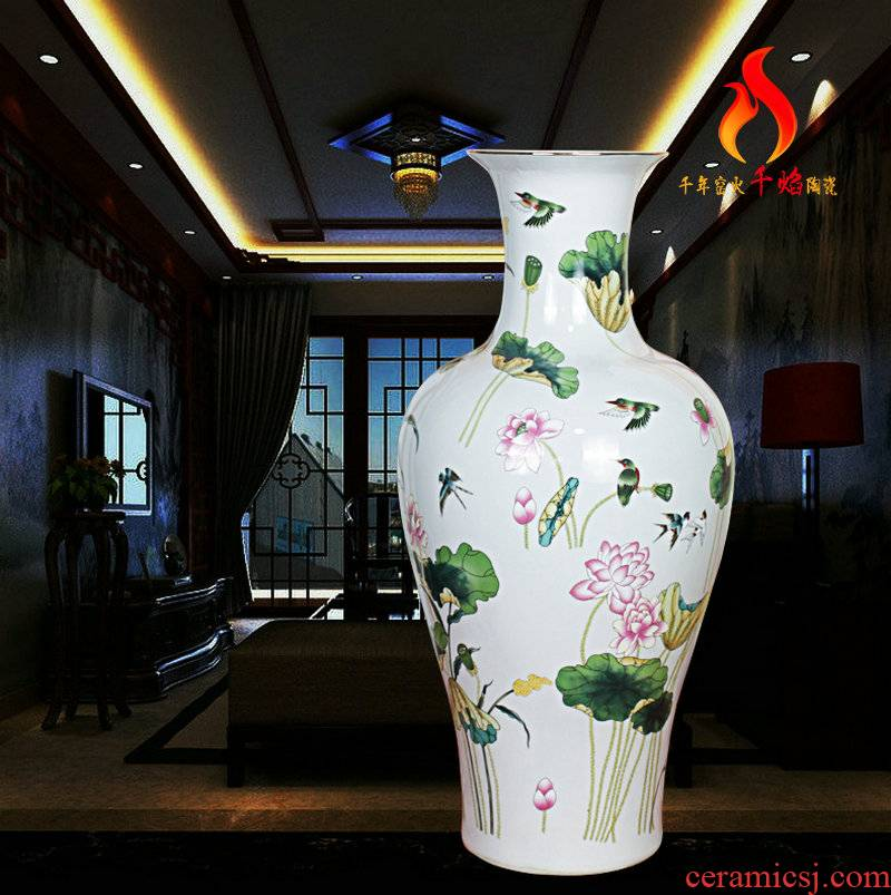 Jingdezhen ceramics vase color lotus fishtail bottles of Chinese style living room home decoration the multi-ethnic study of atherosclerosis (mesa)