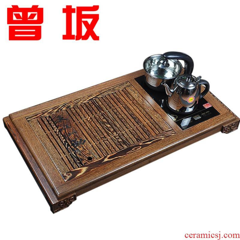 The Who -- chicken wings wood tea set a complete set of four unity induction cooker tea sea solid wood tea tray was oversized suit ebony kung fu