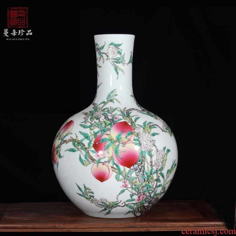 Jingdezhen pure hand - made copy qianlong nine celestial peach vase 33-76 - cm high imitation the qing xiantao hand - made of vases