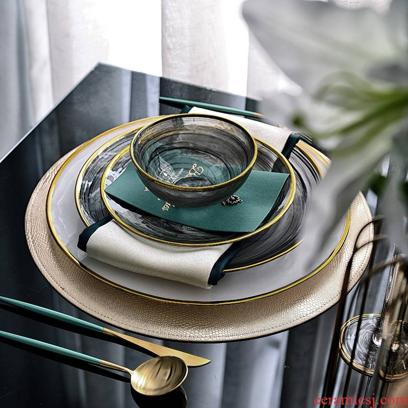 New Chinese style model tableware suit sample room table dish furnishing articles dinner plate center exhibition hall, soft outfit table