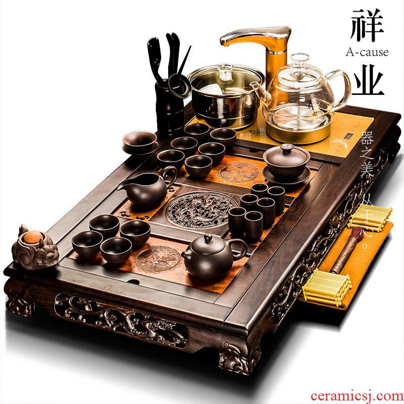 Auspicious industry ebony wood tea tray tea set violet arenaceous kung fu office receives a visitor of a complete set of automatic one household
