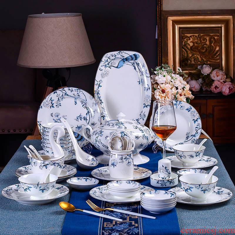 Antarctic treasure dishes suit ipads porcelain European household tableware chopsticks to eat bowl plate combination of Chinese style/