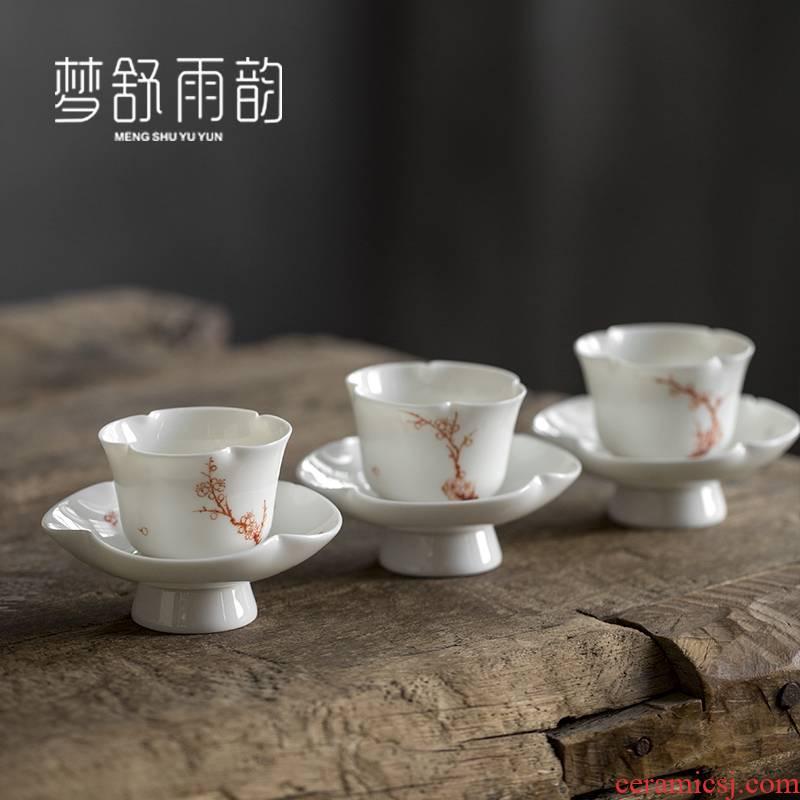 Dream ShuYu rhyme suet jade white porcelain kung fu tea set small ceramic masters cup tea cup pure hand draw a single household