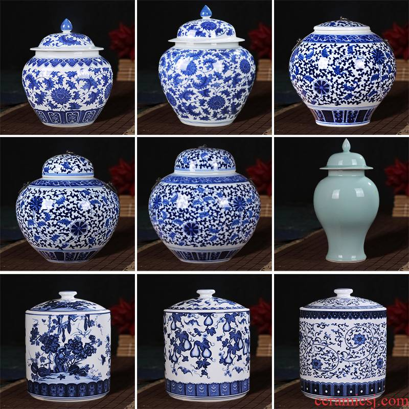 Blue and white porcelain of jingdezhen ceramics general tank furnishing articles storage tank with cover pot of new Chinese style household ornaments