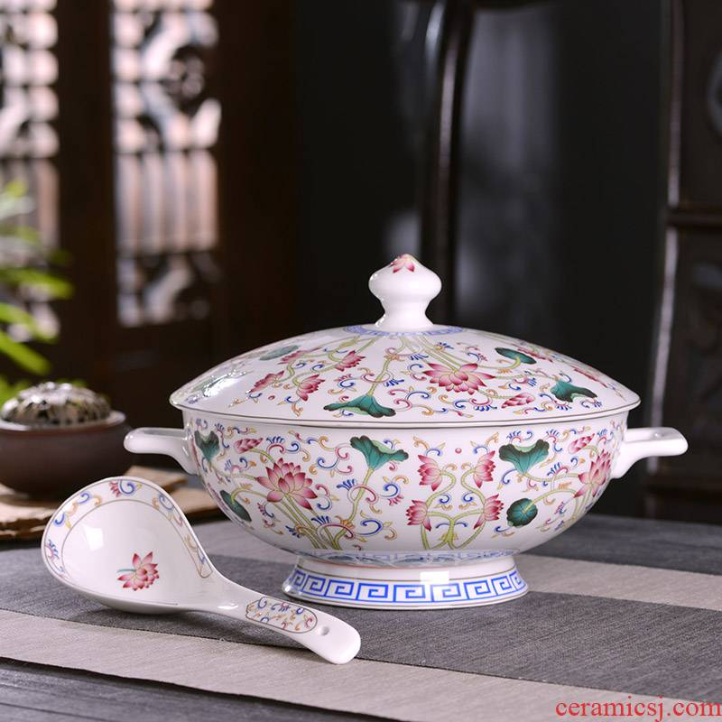 Basin of Chinese style household ipads China big bowl bowl with cover with ear against the hot high - capacity tableware bowl bowl of archaize color lotus