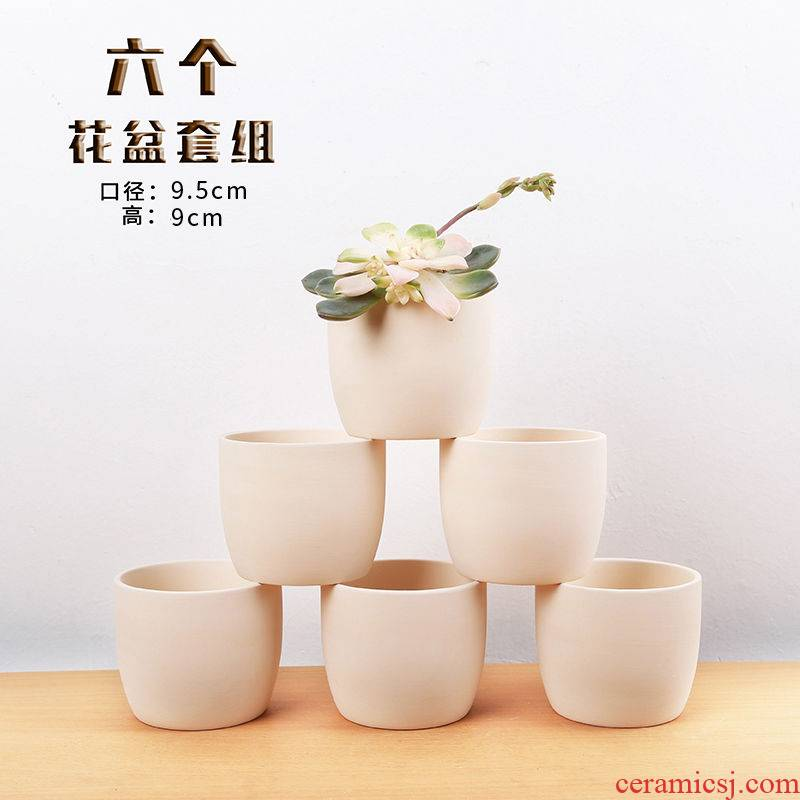 Fleshy flower pot in ceramic hand - made coarse pot oblong breathable hand thumb knead retro contracted basin