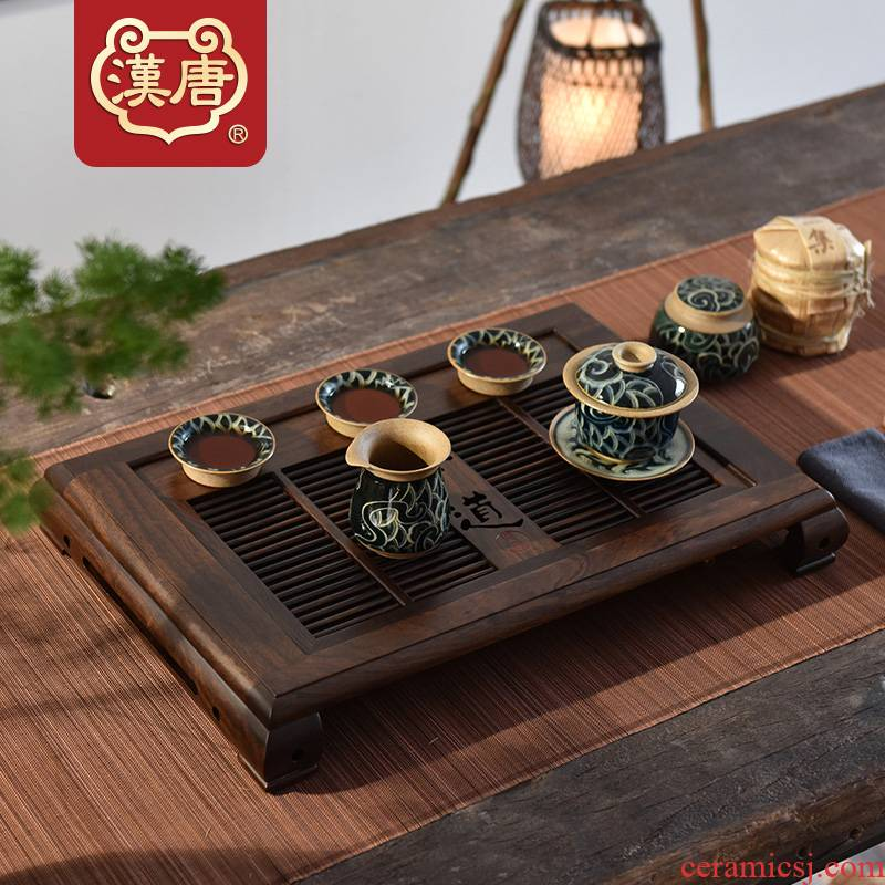 Simple tea tray was han Chinese style household solid wood tray table drawer drainage tea saucer kung fu tea tray