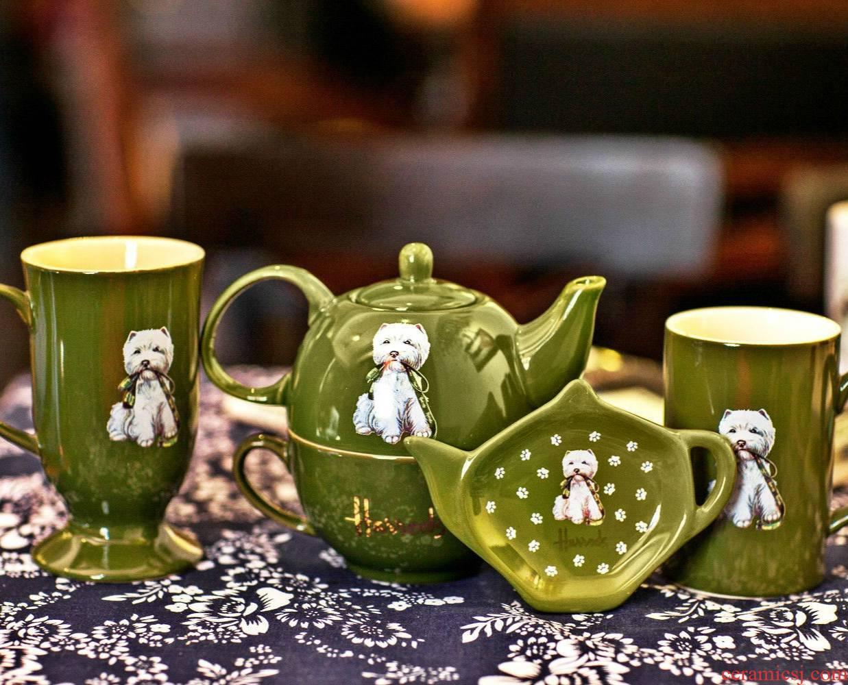 The harrods harrods ceramic cup mark cup couples cup teapot tea saucer west highland disc set