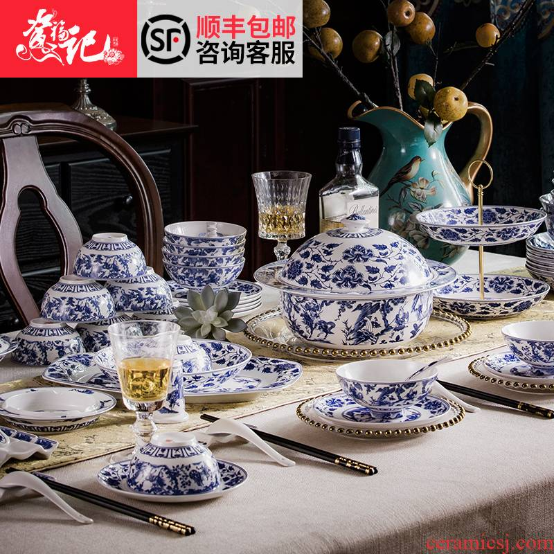 Jingdezhen high - grade archaize of blue and white porcelain tableware guiguzi down Chinese ipads porcelain tableware ceramics tableware gift porcelain