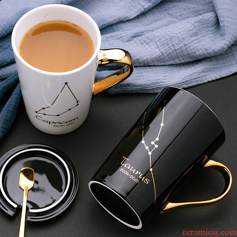 Mark the glass ceramic cup with cover constellation teaspoons of creative move trend picking coffee cup men 's and' s household cup