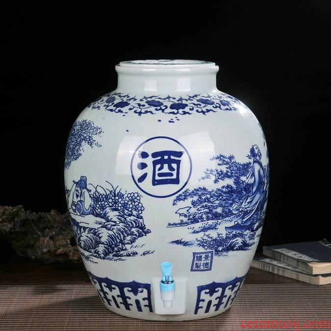 Ceramic 100 catties 150 catties 200 jins jar mercifully wine 300 jins it with sealing faucet casks