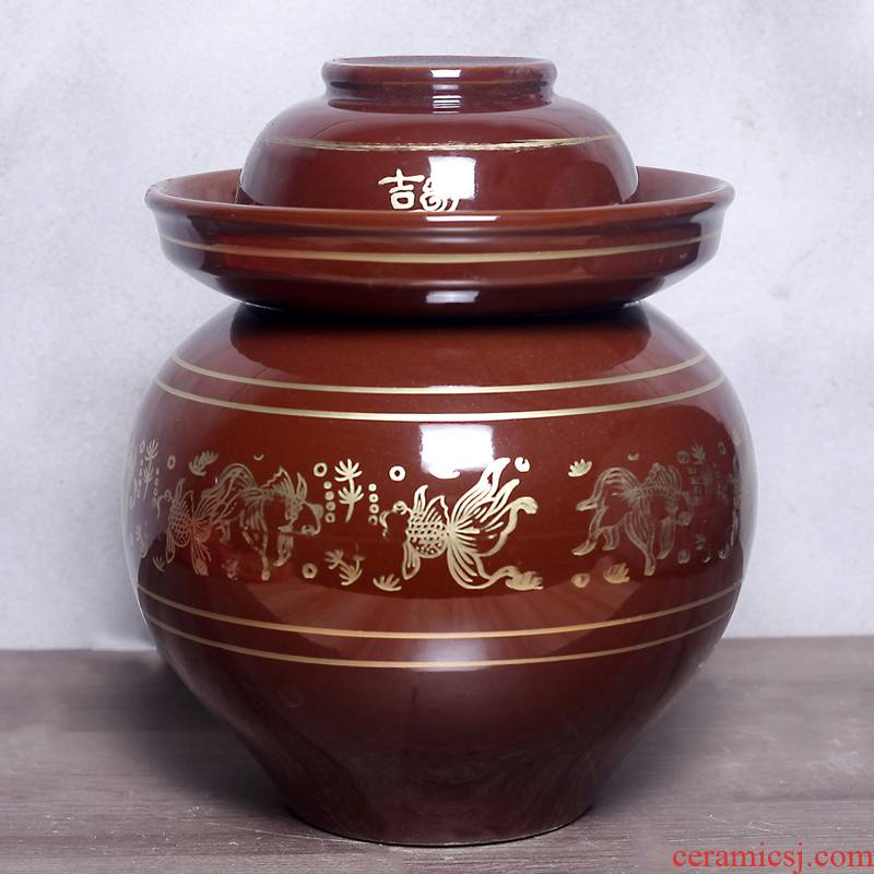 Sichuan old earthenware pickle jar household with cover seal pot - glass ceramic pickles pickles cylinder altar sauerkraut
