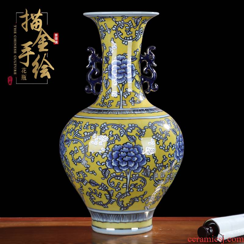 Archaize large master hand - made vases furnishing articles of jingdezhen ceramics flower arrangement sitting room paint decorative arts and crafts