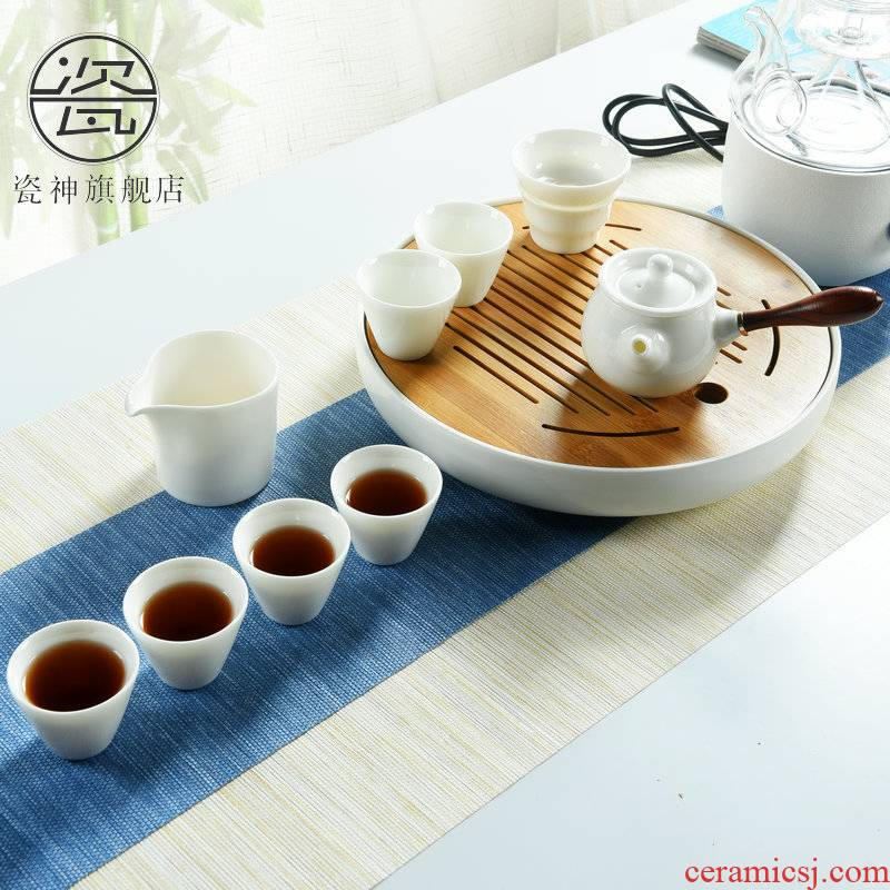 Dehua porcelain god built white porcelain kung fu tea sets tea table contracted household modern ceramic Japanese small dry mercifully tea tray
