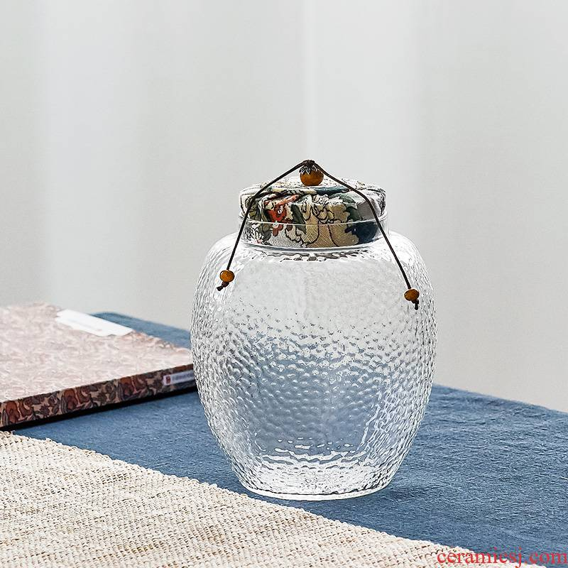 Qiu time household transparent glass sealing caddy fixings multigrain scented tea to receive sealed storage tank kunfu tea in the kitchen