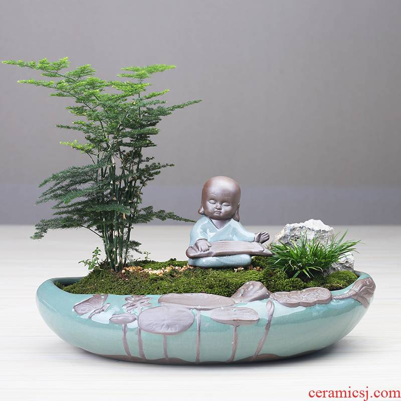 Little flowerpot ceramic creative move Chinese wind asparagus rich tree pot to restore ancient ways more meat shallow basin large clearance
