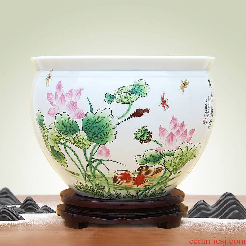 Jingdezhen ceramic furnishing articles hydroponic plant flower implement sitting room aquarium bowl lotus lotus lotus cylinder household decoration