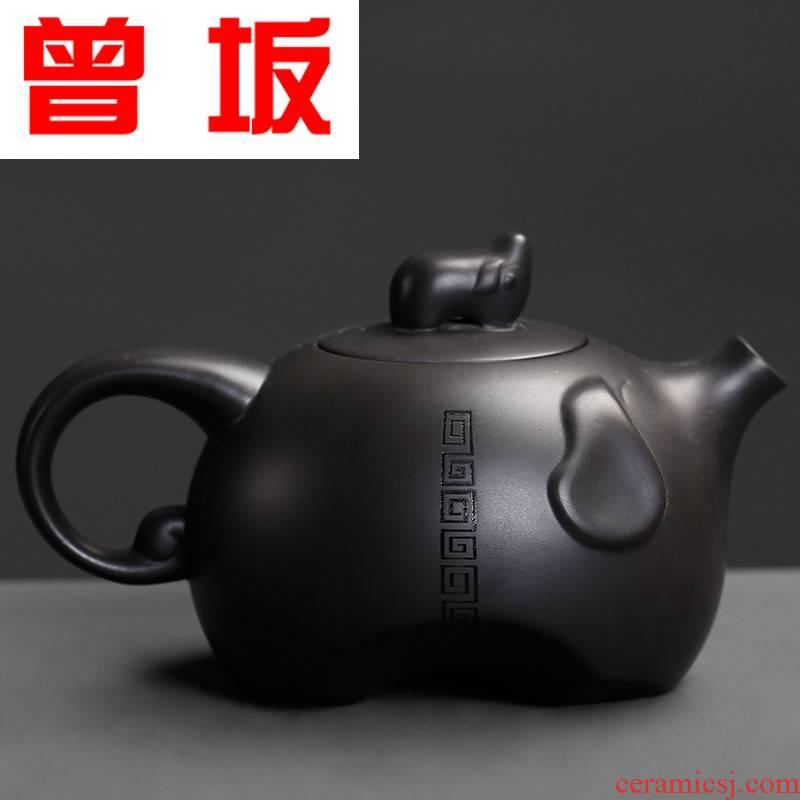 Once sitting dafu dark purple sand teapot yixing small mini personal office kung fu tea set single pot of restoring ancient ways of household