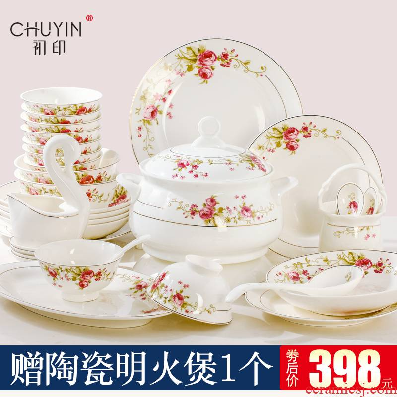 Ipads China tableware dishes suit Chinese style household contracted Europe type of jingdezhen ceramics bowl plate combination of gifts