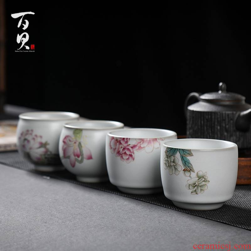 Your up hand - made jingdezhen checking ceramic cups, small single cup sample tea cup kung fu master CPU open for