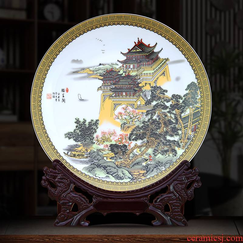 To ceramic furnishing articles dish ceramic custom picture four famous towers porcelain furnishing articles of Chinese style plate process