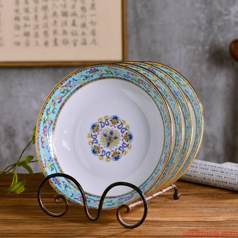 "8 ""jingdezhen ceramic up phnom penh pastel deep dish antique Chinese style household ipads porcelain dish plate tableware single plate"