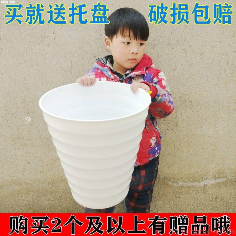 Large ground imitation ceramic plastic thickening contracted high round black and white thread extra Large household plastic flower POTS