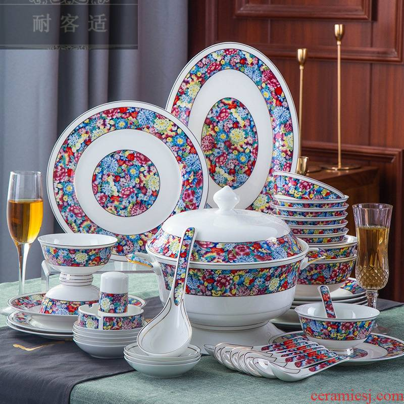 Hold to guest comfortable colored enamel porcelain tableware suit 0 home gift the jingdezhen ceramic bowl LOGO