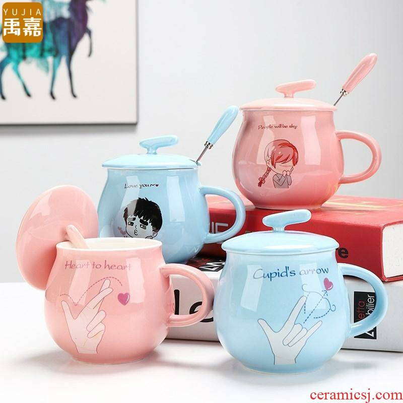 YuJia advertising BeiBei, lovely ceramic keller cup cup spoon knocked up a cup of coffee with cover female mark bag mail for breakfast