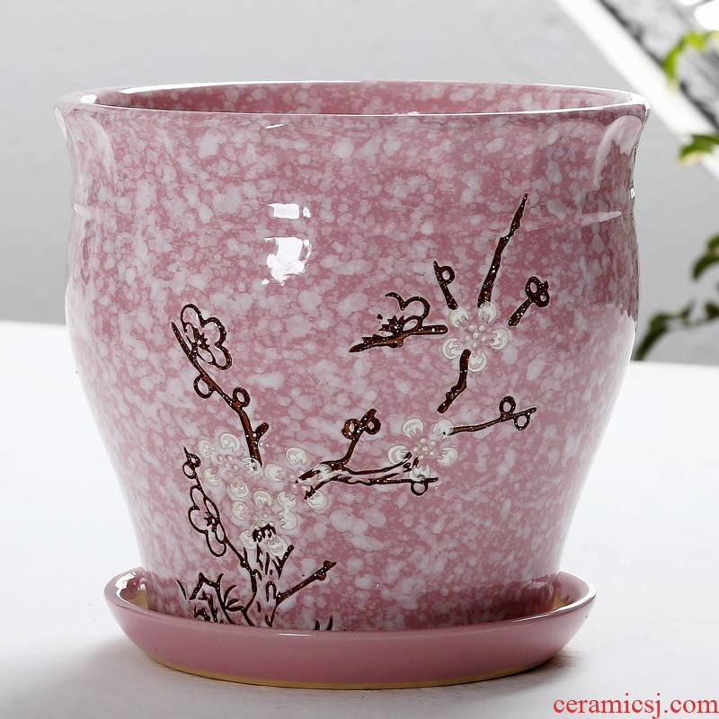 European big flowerpot ceramics with tray wholesale sitting room indoor orchid tree king rich creative flowerpot pack mail