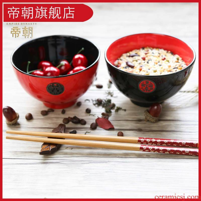 Emperor dynasty ceramics rice bowls Japanese Chinese style wedding gift wedding festive red lovely creative bowl bowl