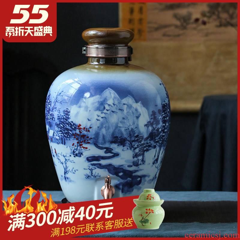 Jingdezhen ceramic jars mercifully wine wine jar 10 jins of 50 kg to 20 seal pot pot liquor bottle it home