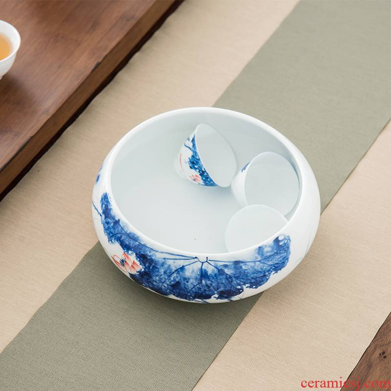Qiu, time of household ceramic basin water wash cup hand - made lotus tea XiCha vessels large tea accessories