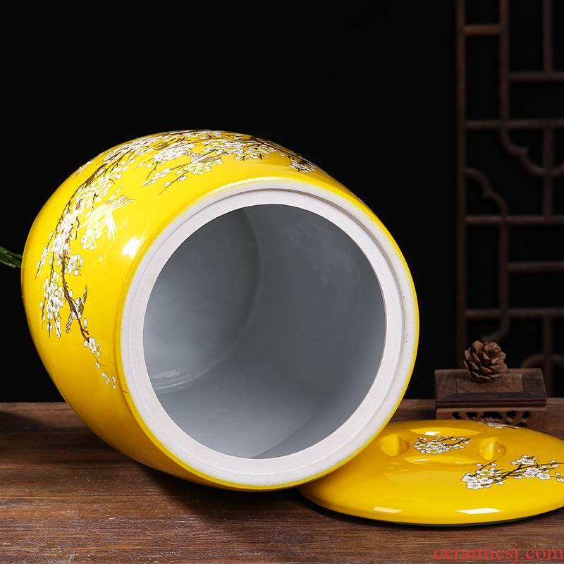 Jingdezhen ricer box cover 30 jin jin ping 50 barrel bore ceramic cylinder storage jar of pickles pickled meat altar tank 20 kg