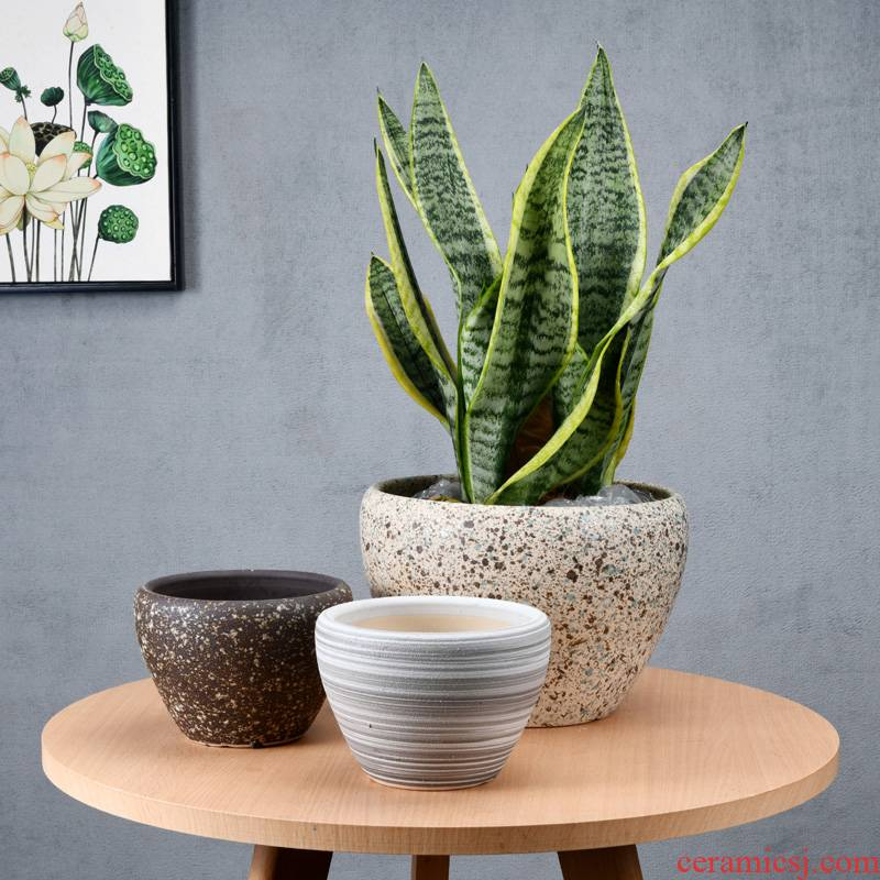 Chinese ceramic flower pot contracted money plant bracketplant breathable oversized bag mail sitting room balcony flowerpot wholesale clearance
