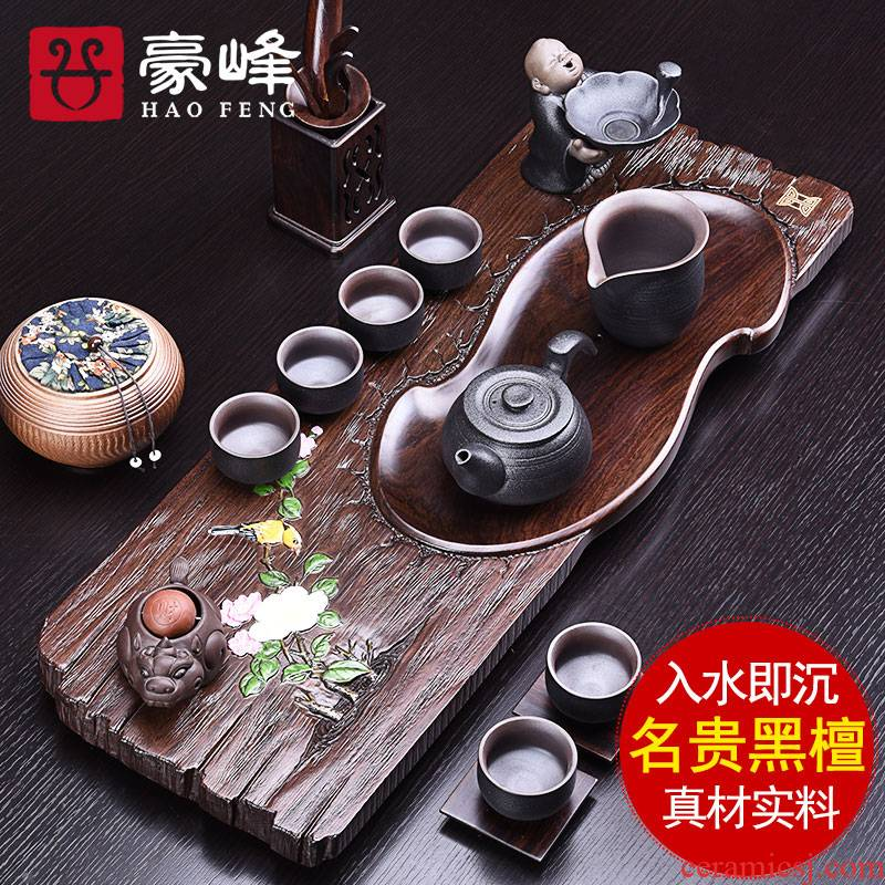 HaoFeng the whole piece of solid wood ebony tea tray was kung fu and exquisite tea sets purple sand tea tea tea table