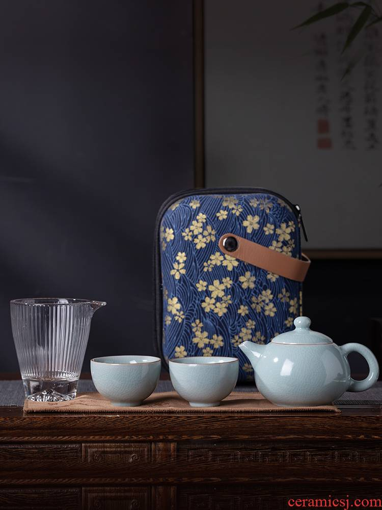 And your up portable travel tea set household of jingdezhen tea service kung fu tea set small sets of the teapot teacup