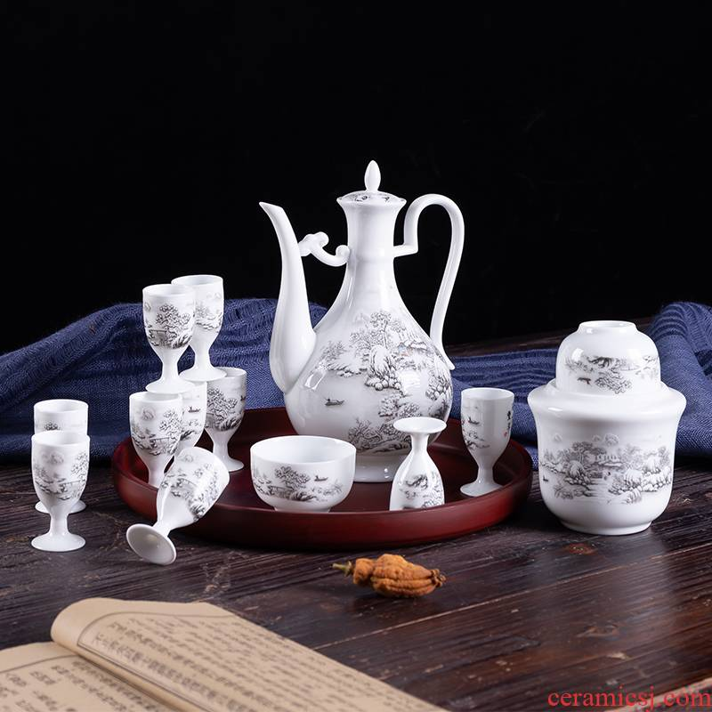 Wine, Wine package antique Chinese style household ceramics temperature warm hot hip flask and cup of a complete set of small a small handleless Wine cup