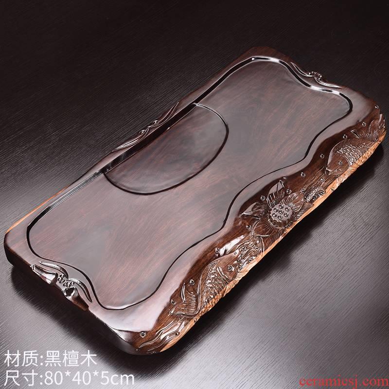 HaoFeng Japanese the whole piece of ebony wood tea tray tea tea sets of purple sand sea kung fu tea set household teapot