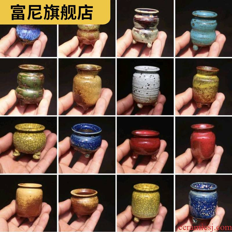 Rich, manual small coarse pottery accused of jingdezhen, fleshy raise hand basin, thumb thumb pull embryo pot basin